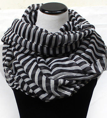 Women Fashion Stripes Scarf Scarves Wrap Circle Infinitiy Cowl Block Double Loop
