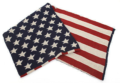 USA American Flag Stars 2 Circle Scarf Scarves Wrap Infinitiy Cowl Knit crochet
