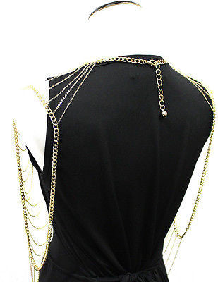 Full Metal Body shoulder Chain Silver Gold JEWELRY Necklace Bikini Harness Dress
