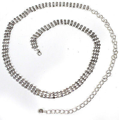 Bling rhinestone Full Metal Chain Belt Thin Wide Waist Party Wedding skinny S~XL