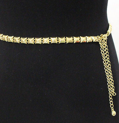 Women Bling Skinny Full Metal Chain Wasit Hip Thin Square Belt Gold Silver S~XL