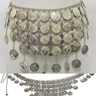 Bling Hip Scarf Belly Dancer DANCING Silver Metal Coin Chain Belt Tribal Costume
