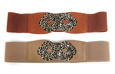Women Western Fashion Elastic Waist Wide Belt Stretch Gold Metal Vintage Flower