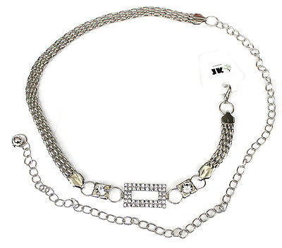 Women Bling Rhinestone Long Full Metal Chain Hip Waist Stretch Belt Thin Wedding