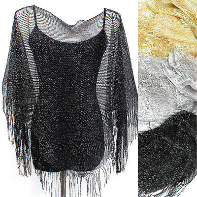Glitter Sparkle Sequin Style Infinitiy Shawl Bride Wedding Evening Scarf Wrap