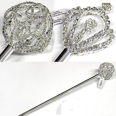Bling Crystal Rhinestone crystal magic wand Carnival Party Queen Costume Silver