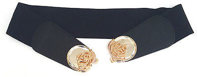 New WOMEN ELASTIC Belt stretch Waist Gold Metal Mirror Flower Hook Wide Wedding