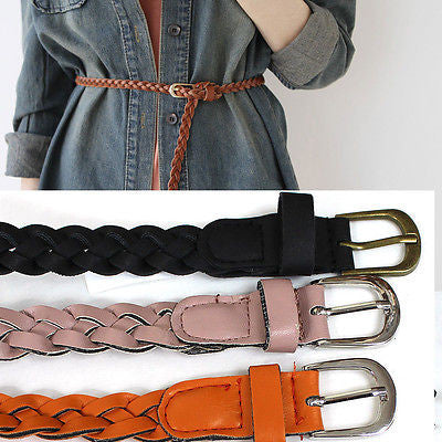 New Women Braided Wide Gold Metal Buckle Elastic Stretch Waist Cinch Belts Black
