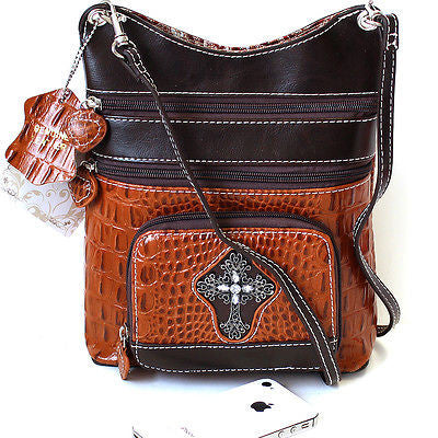 Women South Western Style Handbag messenger Stud Genuine Leather Cross Body Bag