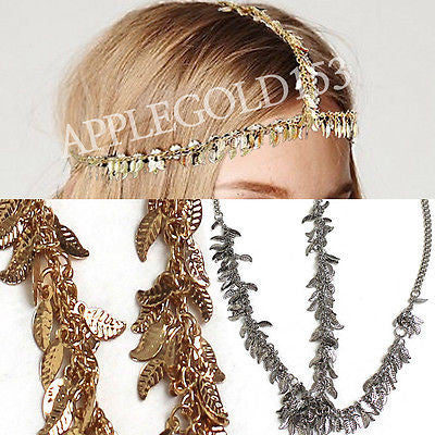 WOMEN GOLD SILVER FORE HEAD PIECE BAND METAL LEAF CHAIN FASHION JEWELRY Dress