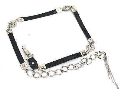 Women Bling Long Silver Metal Chain Hip Waist Belt Rhinestone Circle PU Leather