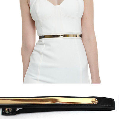 Bling Women Skinny Thin Metal Gold Plate Mirror Waist Elastic Stretch Belt Dress