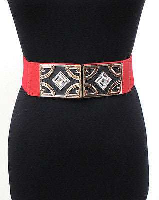 Women Classy Wide Gold Metal RHINESTONES Elastic Waist Band Belt Stretch Black