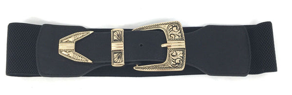 WOMEN ELASTIC Wide Antique Gold Metal WAIST BELT Stretch Western Fashion Vintage
