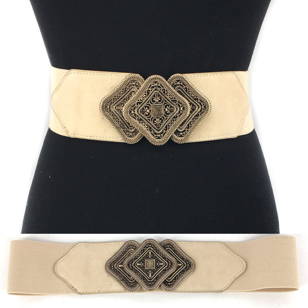 WOMEN Western Fashion ELASTIC stretch Waist Belt Gold Vintage Metal Hook Wide