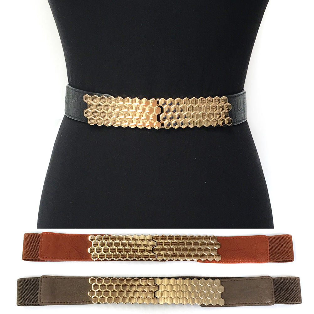 WOMEN Fashion ELASTIC Stretch WAIST WIDE BELT Gold Metal hexago PU Leather Dress