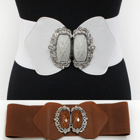 WOMEN Fashion Wide ELASTIC BELT stretch Waistband Silver Metal Rhinestone BUCKLE