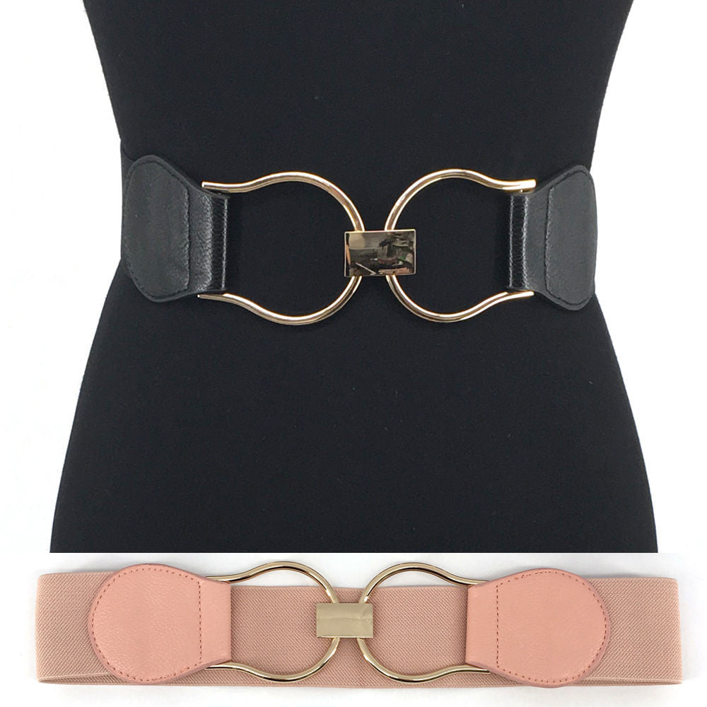 WOMEN Western Fashion Ring Gold Metal Hook WAIST HIP WIDE ELASTIC BELT Stretch