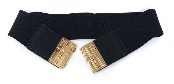 Bling WOMEN Western Fashion ELASTIC Stretch WAIST WIDE BELT Gold Metal rectangle