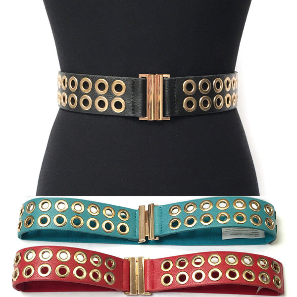 Bling WOMEN Western Fashion ELASTIC Stretch WAIST WIDE BELT Gold Metal Circle