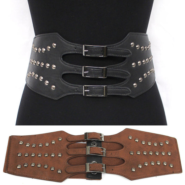 WOMEN Western Fashion ELASTIC Vintage Metal Hook WAIST WIDE StudsBELT Stretch