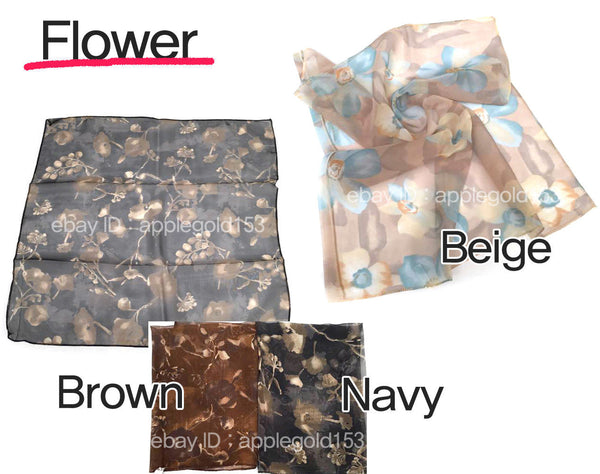 Classic Women 1950's Square Sheer CHIFFON NECK SCARF Sold Color Leopard Flower