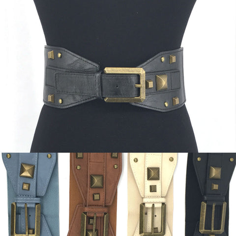 WOMEN Western Fashion Vintage Gold Metal WAIST HIP WIDE ELASTIC BELT Stretch