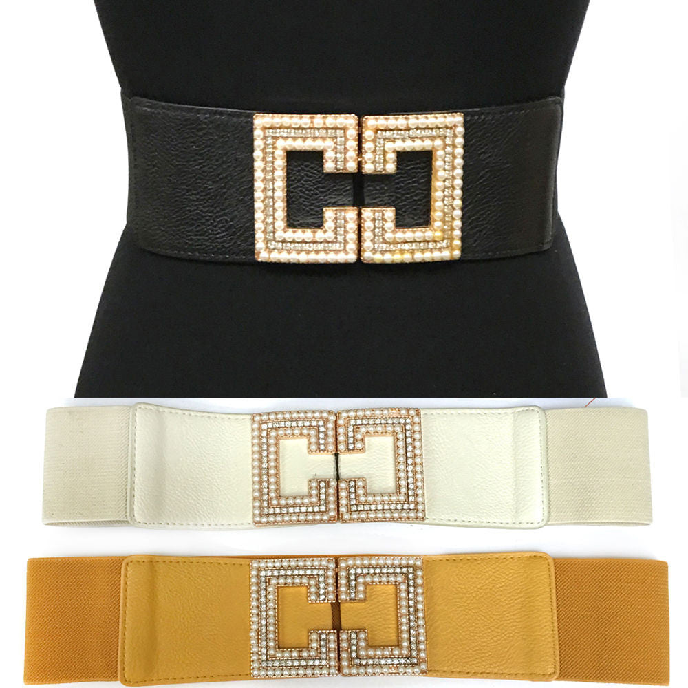 Classy WOMEN Fashion ELASTIC Stretch Pearl Gold Metal WAIST Wide Bling BELT