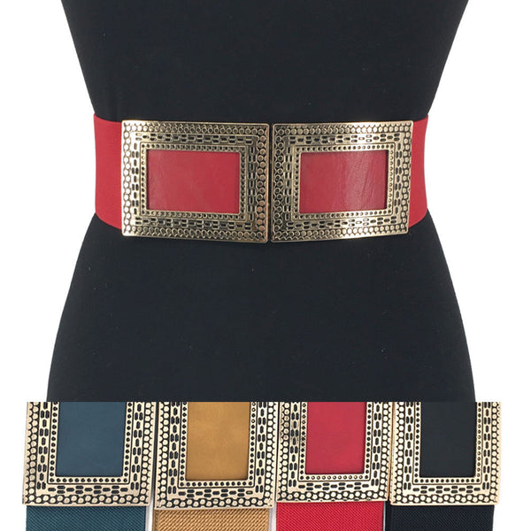 WOMEN Western Fashion ELASTIC stretch Waist Belt Vintage Gold Metal Hook Wide