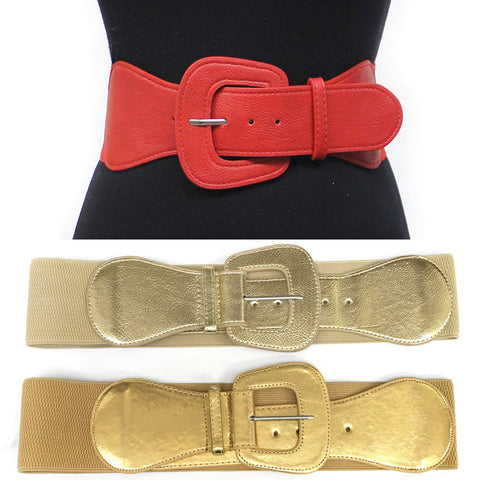 Western Fashion Faux Leather Wide Elastic stretch Waist Belt Dancer Party Gold