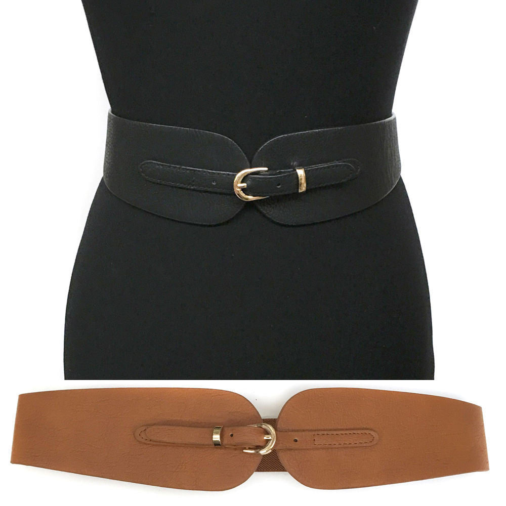 Classy WOMEN ELASTIC Stretch Gold Metal WAIST BELT Western Fashion PU Leather