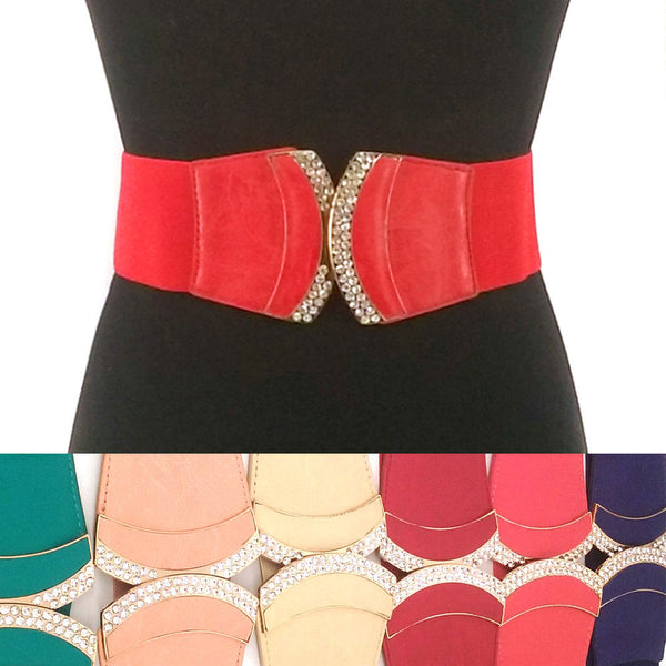 WOMEN ELASTIC BELT stretch Waistband Goldr Metal Rhinestone Bow BUCKLE Wide