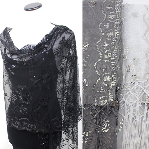 New Sequin Beaded Shawl Flower Wedding Party Gift Evening Scarf Wrap Fringe Gold