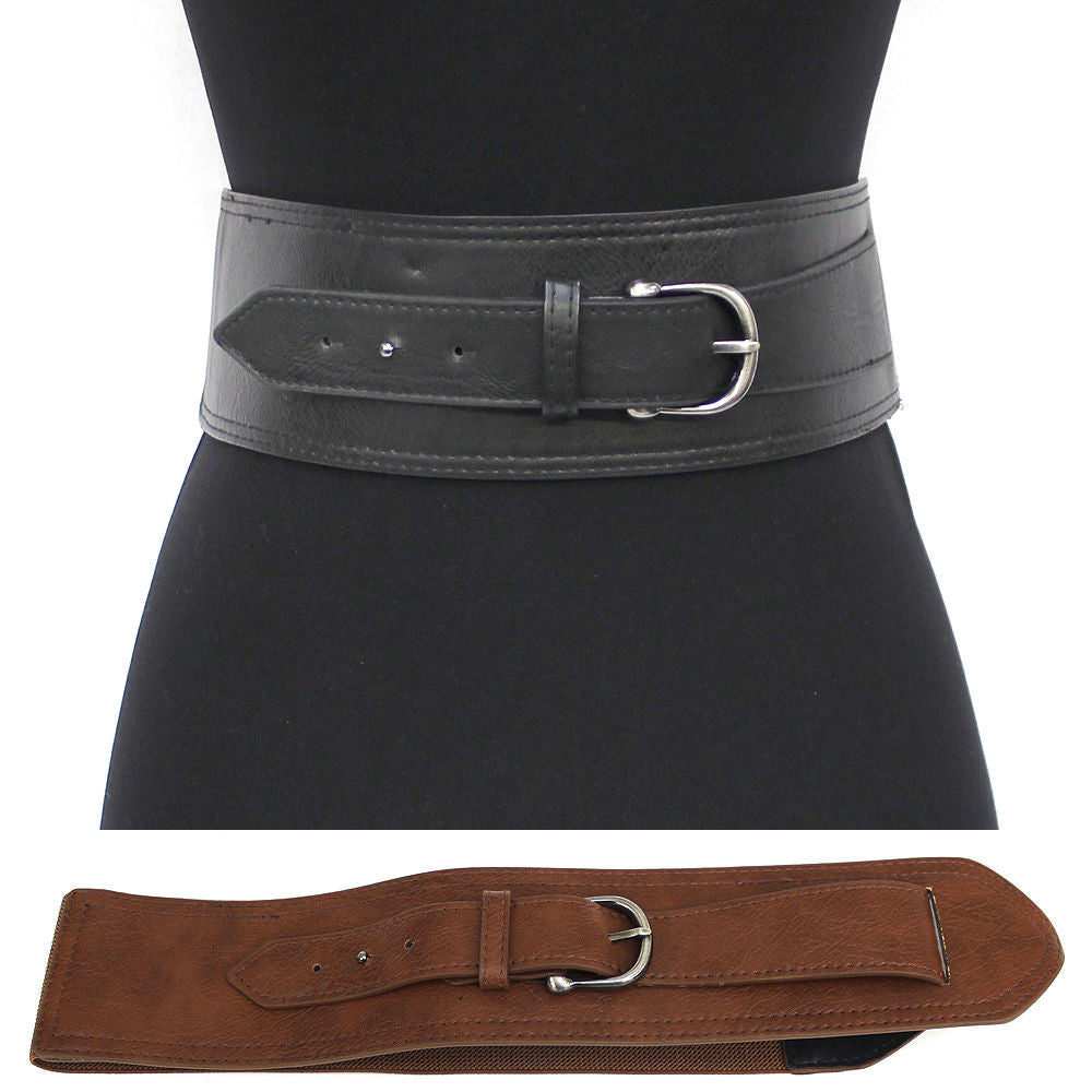 classy WOMEN ELASTIC PU Leather WAIST WIDE BELT Stretch Vintage Western Fashion