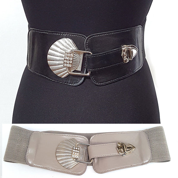 Chic WOMEN Western Fashion Wide ELASTIC BELT stretch Waist Vintage Silver Metal