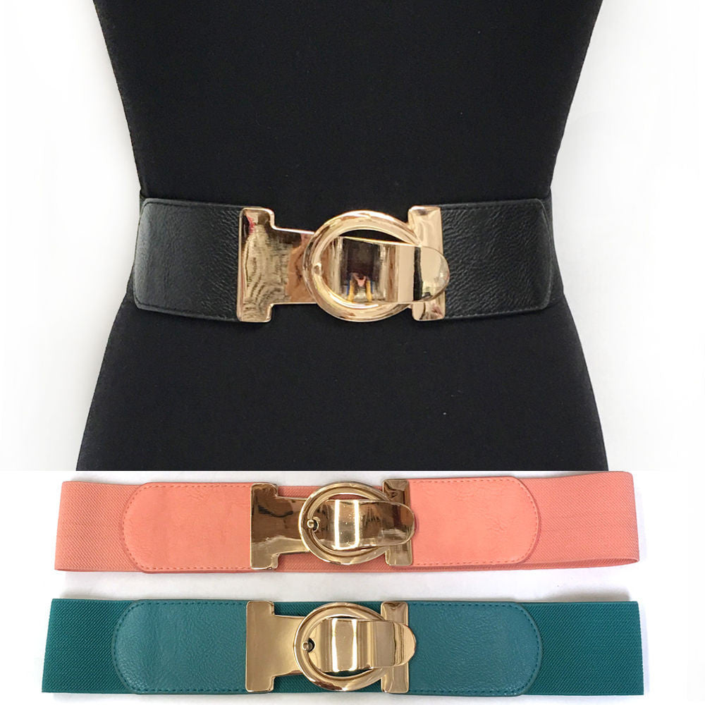 Bling WOMEN Fashion ELASTIC Stretch WAIST WIDE BELT Gold Metal ovate Hook Dress