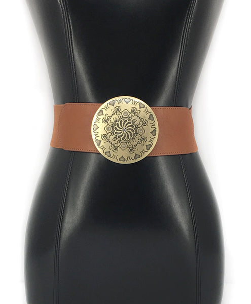 Boho Western Fashion ELASTIC Gold Metal Vintage WAIST HIP WIDE BELT Stretch