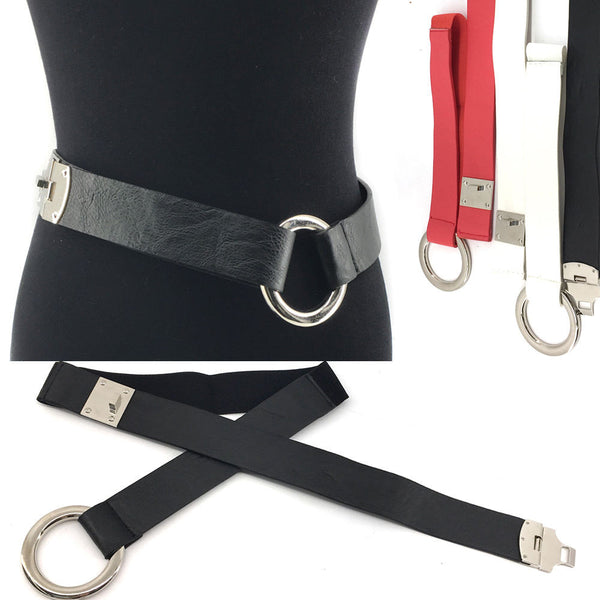 WOMEN ELASTIC PU Leather WAIST WIDE BELT Stretch Western Fashion Metal Hook S~XL