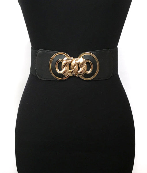 Bling Fashion Elastic Waist Wide Belt Stretch Bowknot Gold Metal Circle Dress