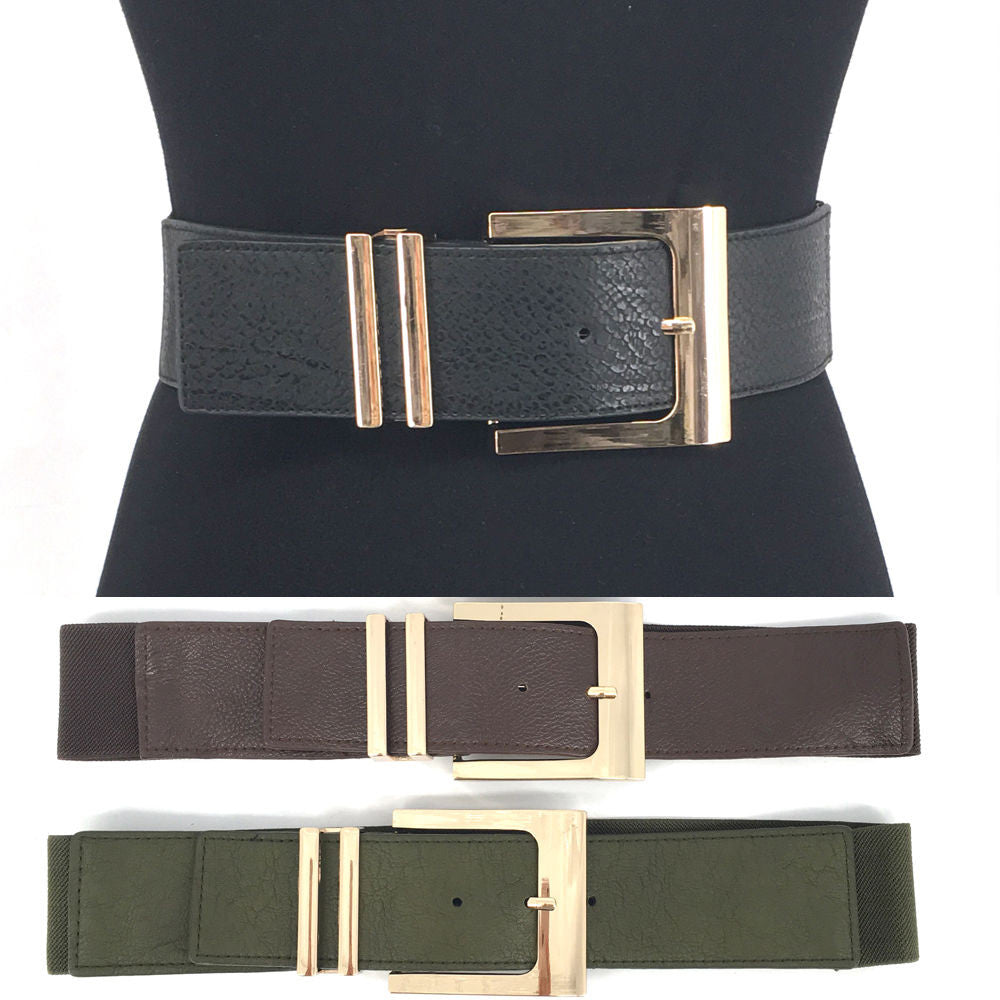 WOMEN Western Fashion Gold Metal WAIST HIP WIDE ELASTIC BELT Stretch PU Leather