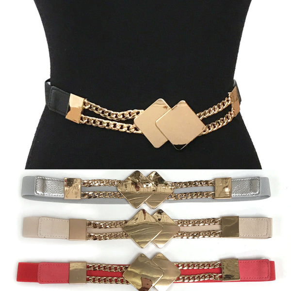 Classy Fashion Elastic Waist Wide Belt Stretch Gold Metal Diamond Chain Dress