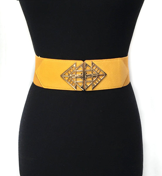 Bling WOMEN Fashion ELASTIC Stretch WAIST WIDE BELT Gold Metal rhombus Dress