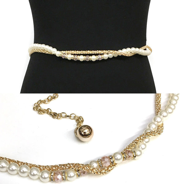 Bling WOMEN Fashion Stretch Gold Full Metal HIP WAIST Skinny Long Pearl BELT
