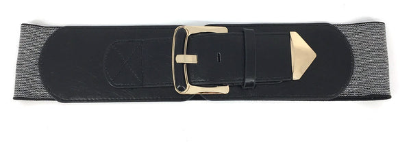 WOMEN Western Fashion ELASTIC stretch Waist Belt Gold Metal Hook Wide PU Leather
