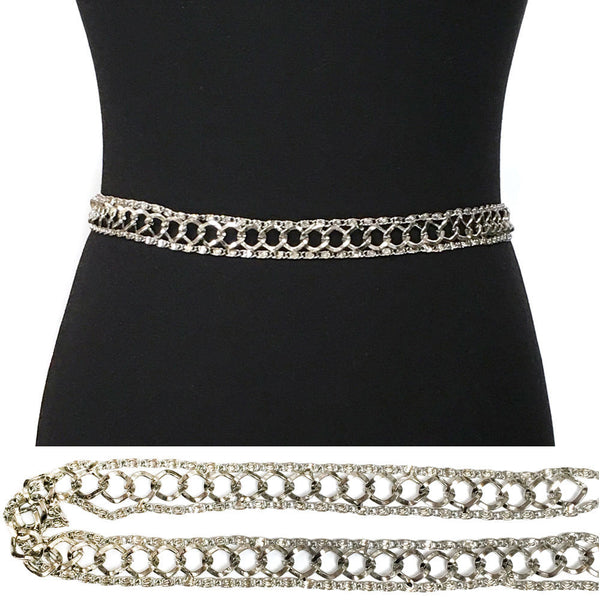 Bling Women Long Vintage Silver Full Metal Chain Hip Waist Belt Skinny S M L XL