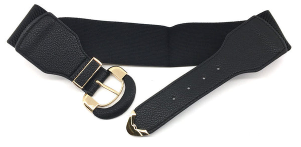 Bling WOMEN Fashion ELASTIC stretch Waist Belt Gold Metal Hook Wide PU Leather