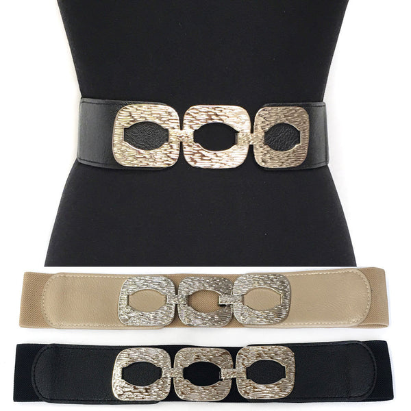 WOMEN Western Fashion ELASTIC Stretch WAIST Hip WIDE BELT Silver Metal square