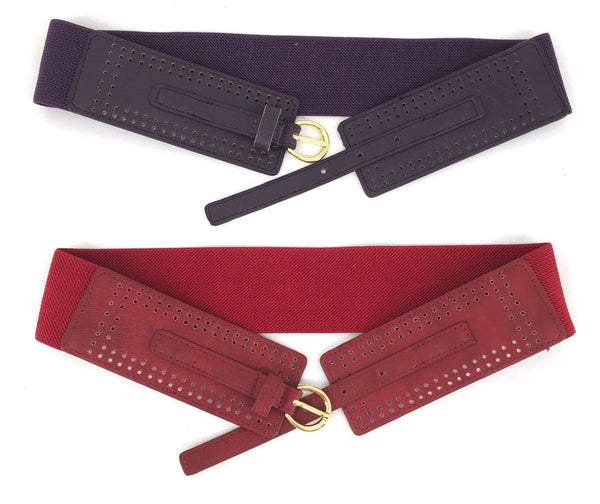 WOMEN Western Fashion ELASTIC Gold Metal BUCKLE WAIST HIP WIDE BELT Stretch