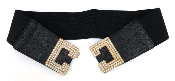 Classy WOMEN Fashion ELASTIC Stretch Pearl Gold Metal WAIST Wide BELT Rhinestone