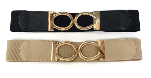 Bling WOMEN Fashion ELASTIC Stretch WAIST WIDE BELT Gold Metal duble ovate Dress